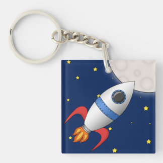 Cute Cartoon Space Rocket Ship Keychain
