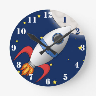 Cute Cartoon Space Rocket Ship Wallclock