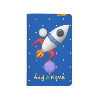 Cute Cartoon Space Rocket Ship with Name Journal