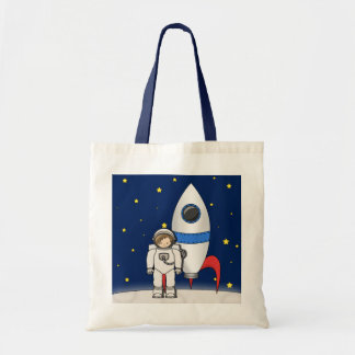 Cute Cartoon Spaceman and Rocket Ship