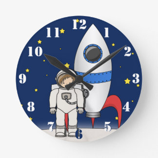 Cute Cartoon Spaceman and Rocket Ship Round Clock