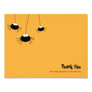 Cute Cartoon Spiders Flat Thank You Note Card