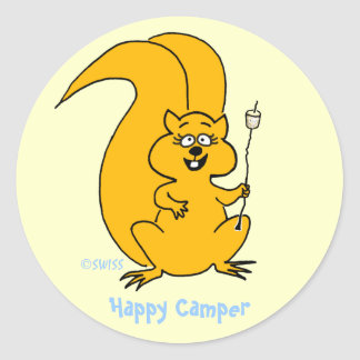Cute Cartoon Squirrel Happy Camper Envelope Seals