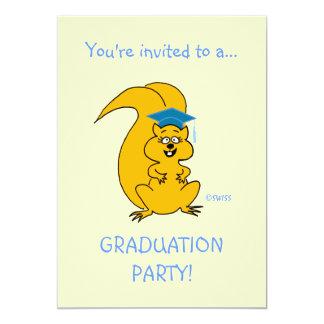 Cute Cartoon Squirrel Outdoor Graduation Party Fun Card