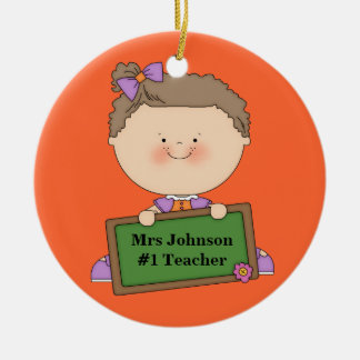 Cute Cartoon Student Holding Chalkboard #1 Teacher Ceramic Ornament