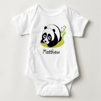 Cute cartoon style black and white panda bear, baby bodysuit