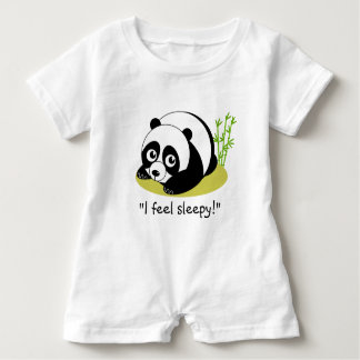 Cute cartoon style black and white panda bear, baby romper