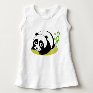 Cute cartoon style black and white panda bear, dress