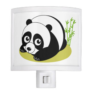 Cute cartoon style black and white panda bear, nite lites