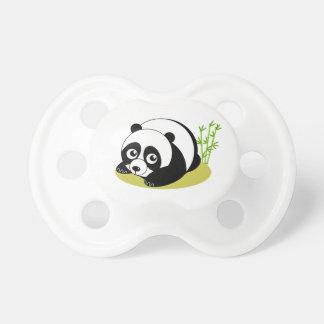 Cute cartoon style black and white panda bear, pacifier
