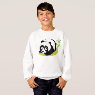 Cute cartoon style black and white panda bear, sweatshirt