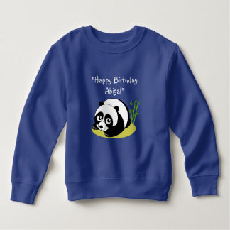 Cute cartoon style black and white panda bear, sweatshirt