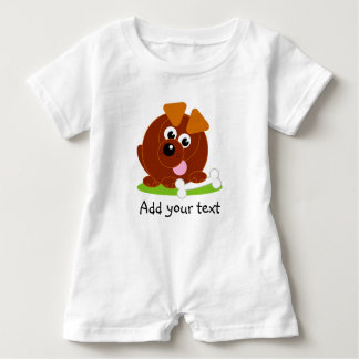 Cute cartoon style brown puppy dog holding a bone, baby romper