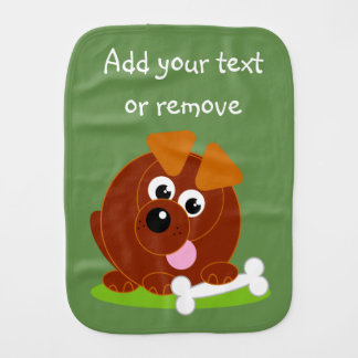Cute cartoon style brown puppy dog holding a bone, burp cloth