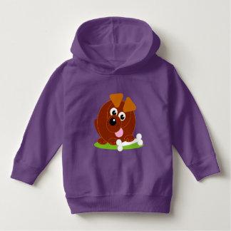Cute cartoon style brown puppy dog holding a bone, hoodie