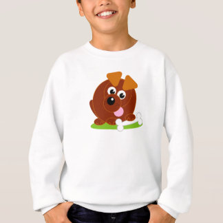 Cute cartoon style brown puppy dog holding a bone, sweatshirt