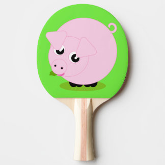 Cute cartoon style illustration of a pink pig, ping pong paddle