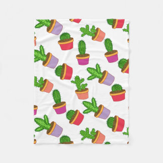 Cute Cartoon Succulent and Cactus Fleece Blanket