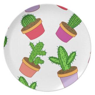 Cute Cartoon Succulent and Cactus Plate