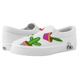 Cute Cartoon Succulent and Cactus Slip-On Sneakers