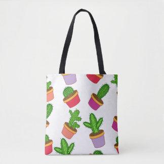 Cute Cartoon Succulent and Cactus Tote Bag