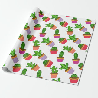 Cute Cartoon Succulent and Cactus Wrapping Paper