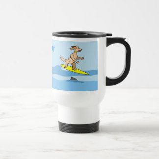 Cute Cartoon Surfing Dog and Waves Personalized Travel Mug