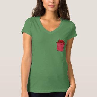 Cute Cartoon Teddy Bear in Pocket T-Shirt