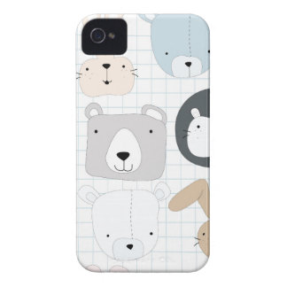 Cute cartoon teddy bear toddler and rabbit bunny Case-Mate iPhone 4 case