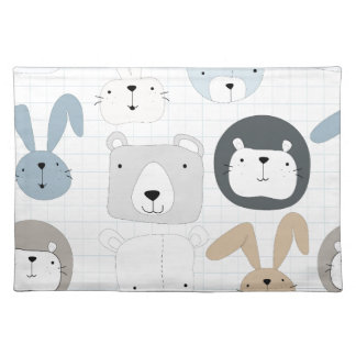 Cute cartoon teddy bear toddler and rabbit bunny placemat