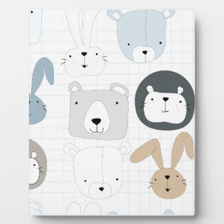 Cute cartoon teddy bear toddler and rabbit bunny plaque