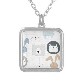 Cute cartoon teddy bear toddler and rabbit bunny silver plated necklace