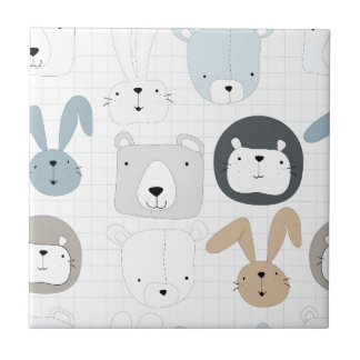 Cute cartoon teddy bear toddler and rabbit bunny tile