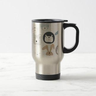 Cute cartoon teddy bear toddler and rabbit bunny travel mug