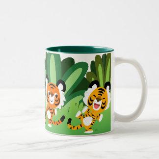 Cute Cartoon Tigers Dancing In The Jungle Mug