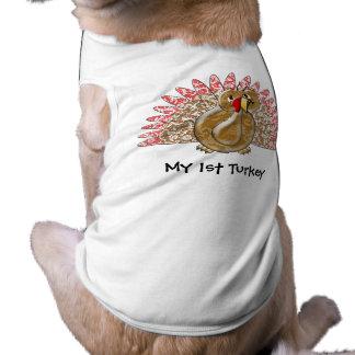 Cute Cartoon Turkey Damask Pattern Pet T-shirt