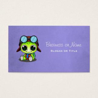 Cute Cartoon Turtle in Aviator Hat Business Card