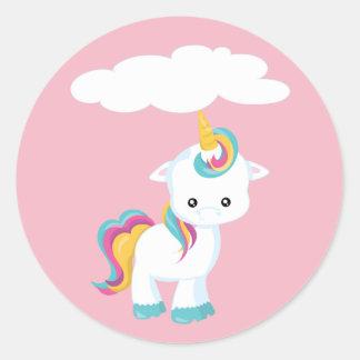 Cute Cartoon Unicorn w/Cloud Classic Round Sticker
