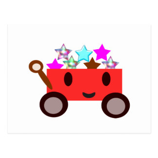 Cute cartoon wagon postcard