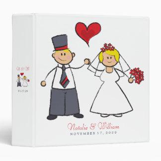 Cute Cartoon Wedding Couple Bride Groom Love Heart Binder