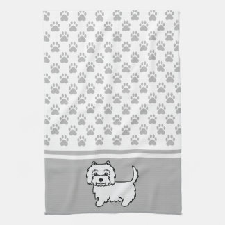 Cute Cartoon Westie Dog With Grey Paws Pattern Kitchen Towel