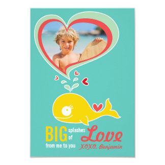"Cute Cartoon Whale Classroom Photo Valentine Card 3.5"" X 5"" Invitation Card"