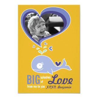 Cute Cartoon Whale Classroom Valentine Photo Card