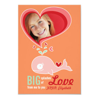 "Cute Cartoon Whale Classroom Valentine Photo Card 3.5"" X 5"" Invitation Card"