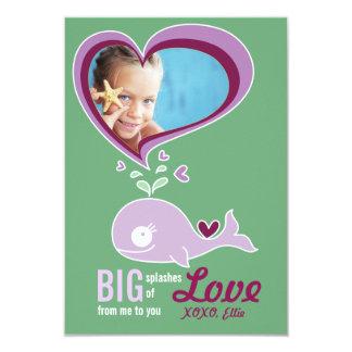 "Cute Cartoon Whale Kid Classroom Valentine Photo 3.5"" X 5"" Invitation Card"
