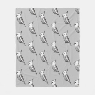 Cute Cartoon Whiteface Cockatiel Birds Pattern Fleece Blanket