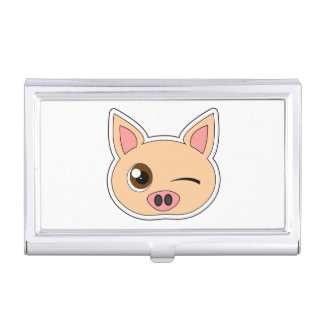 Cute Cartoon Winking Pig Business Card Holder