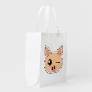 Cute Cartoon Winking Pig Grocery Bags