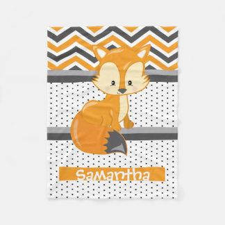Cute Cartoon Woodland Fox Personalized Fleece Blanket