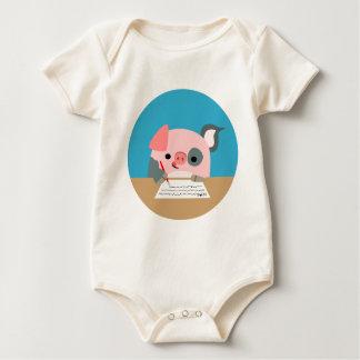 Cute Cartoon Writing Pig Baby Apparel Baby Bodysuit